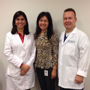 Dr. Bruna Ventura with Dr. Li Wang and Dr. Mitchell Weikert
